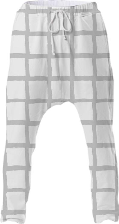 Grey and White Grid Drop Pant