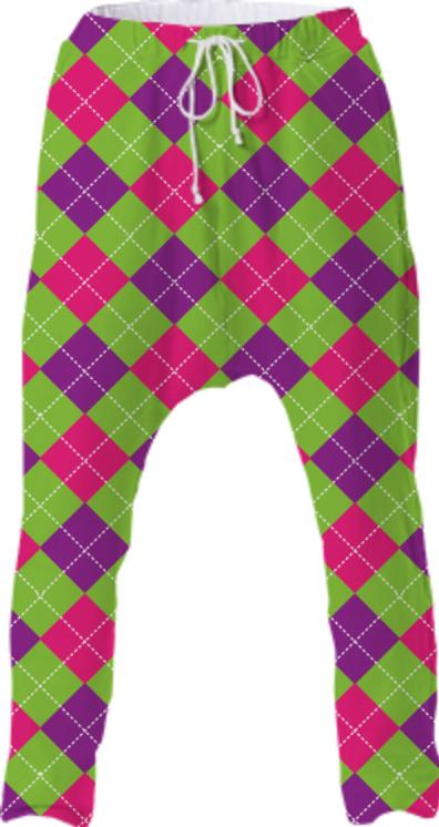 PINK PURPLE GREEN ARGYLE PATTERN DROP PANT