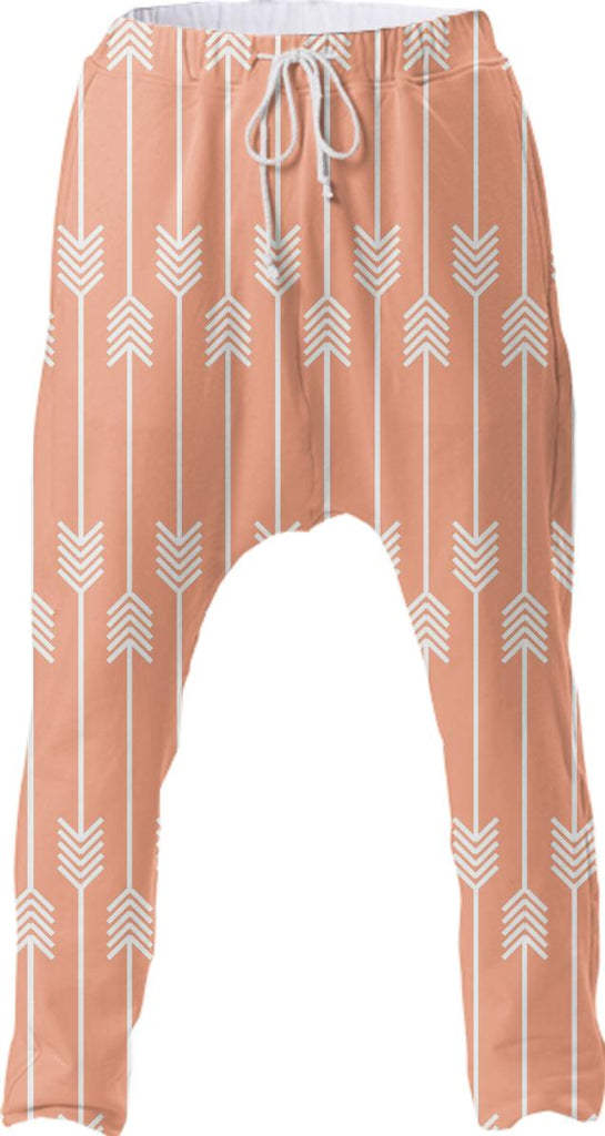White Arrows on Peach Drop Pant