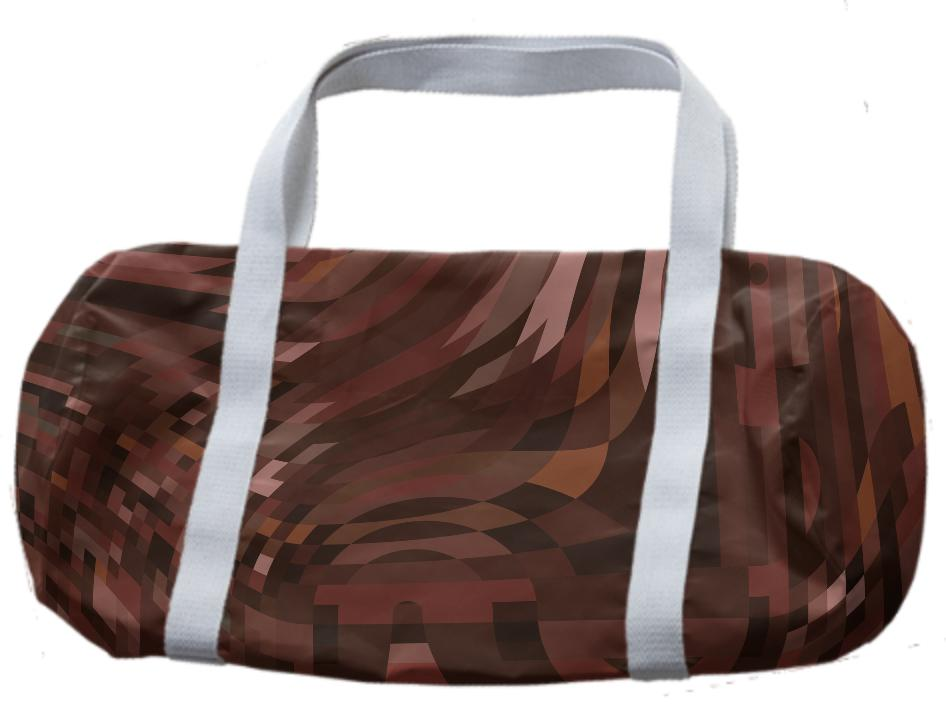 Abstract 369 Brown Geometric Duffle Bag