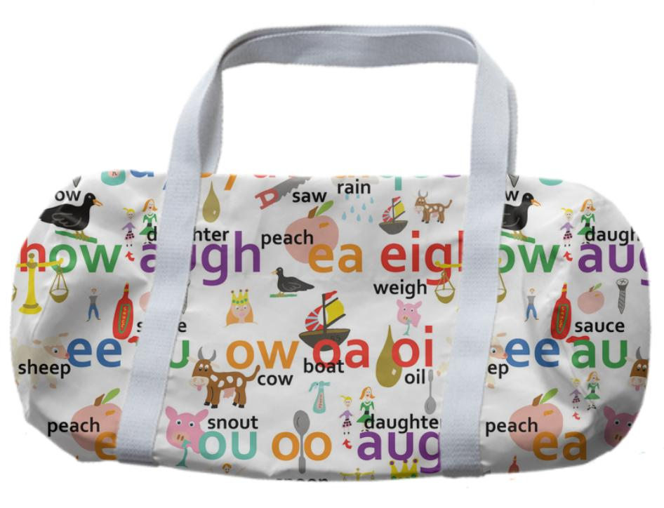 Alphabet more vowel blends inspired duffle bag