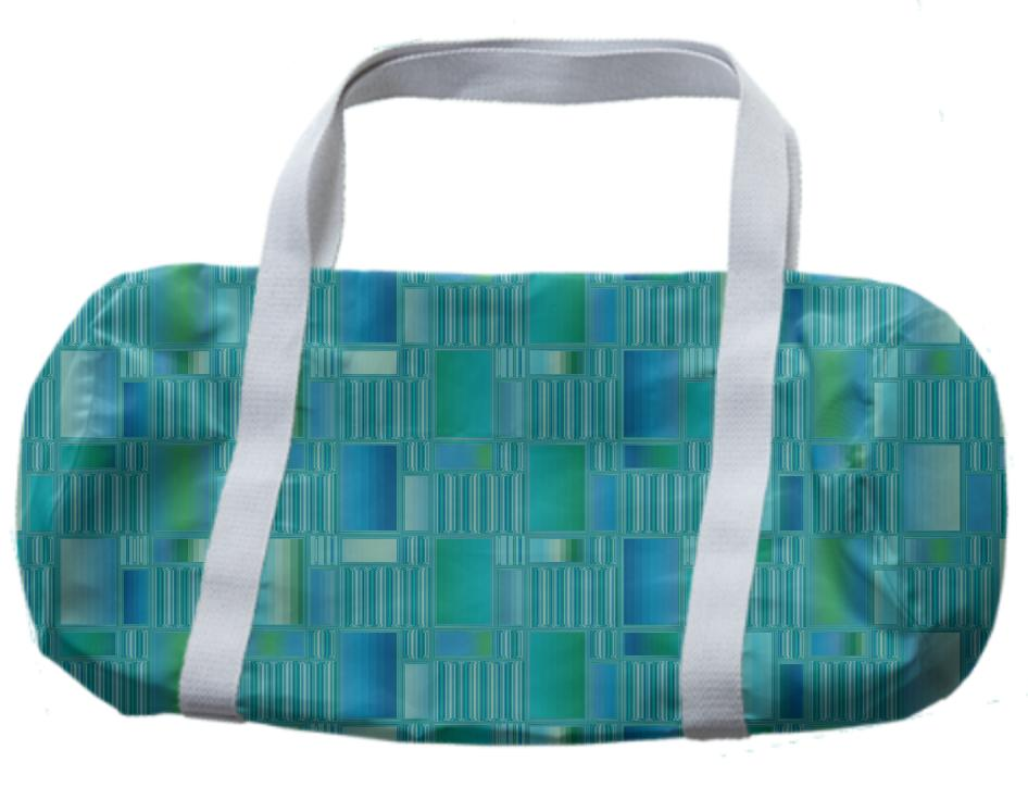 Aqua Tiles and Lines Geometric Duffle Bag