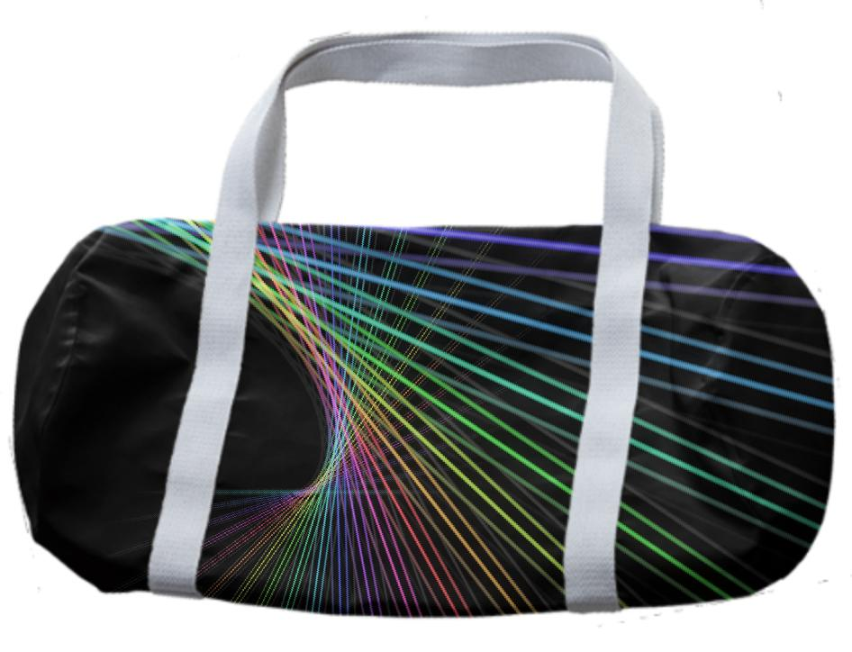 Black with Rainbow Color Lines Abstract Duffle Bag