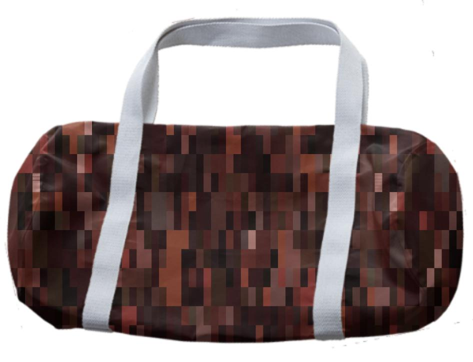 Dark Brown Tones Pixel Abstract Duffle Bag