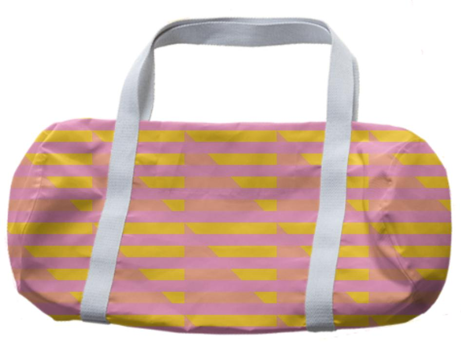 Pink Peach Yellow Houndstooth Duffle Bag