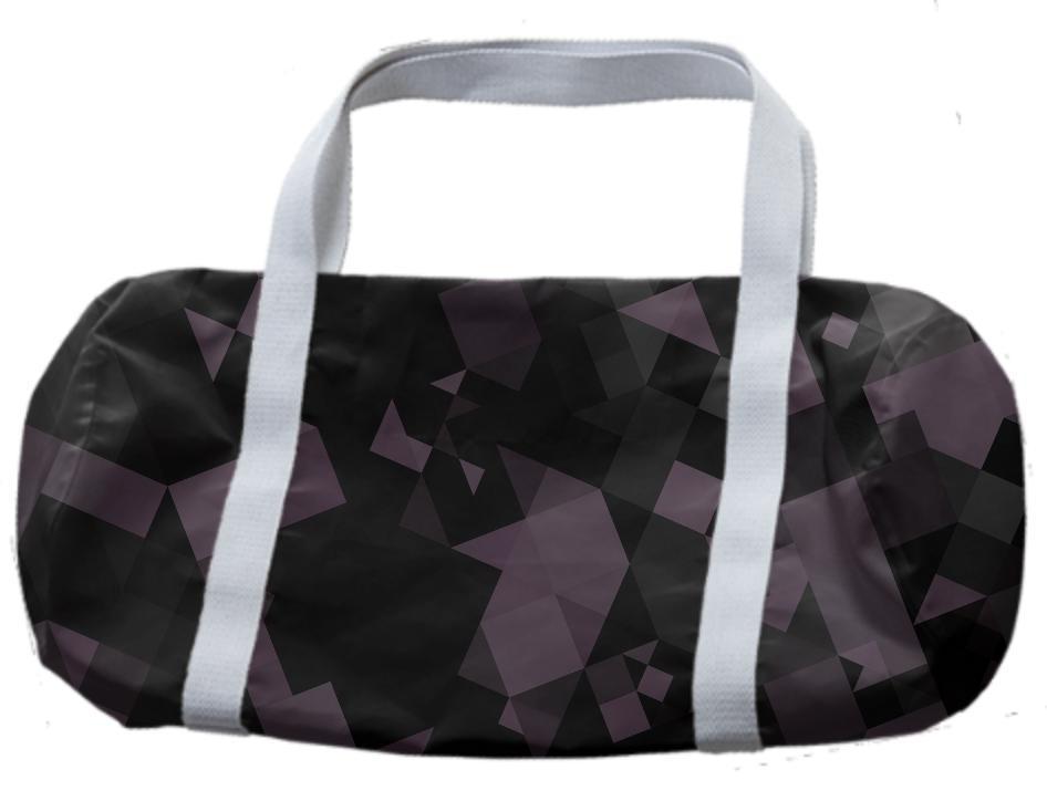 Plum and Black Geometric Duffle Bag