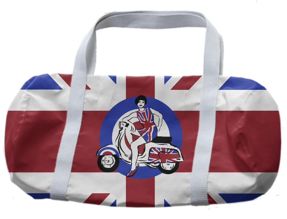 Retro Mod scooter girl duffle bag