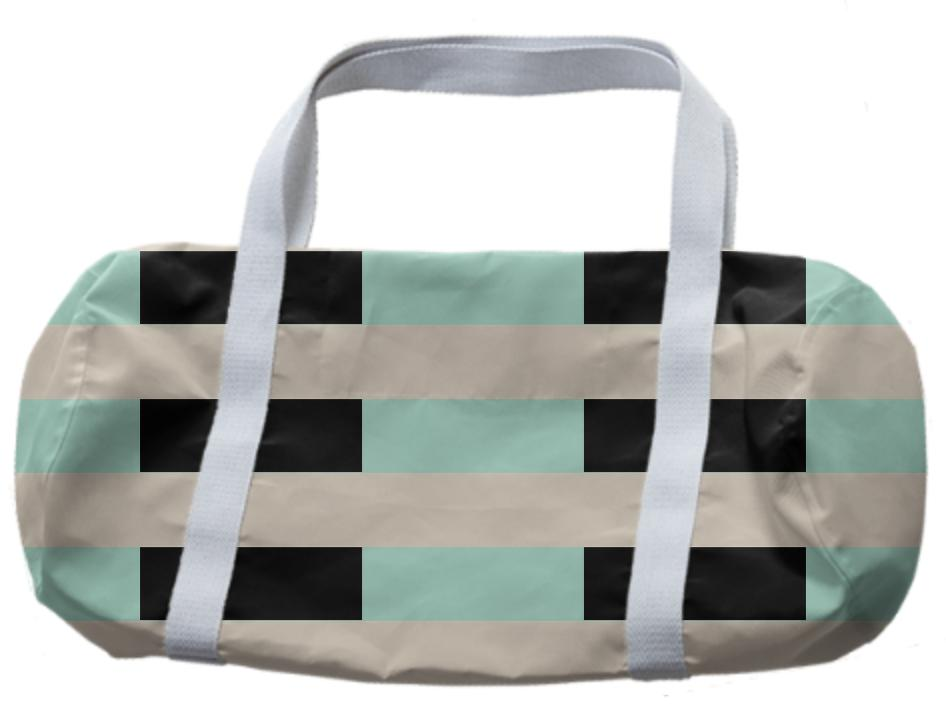 Tan and Mint Checkerboard Duffle Bag