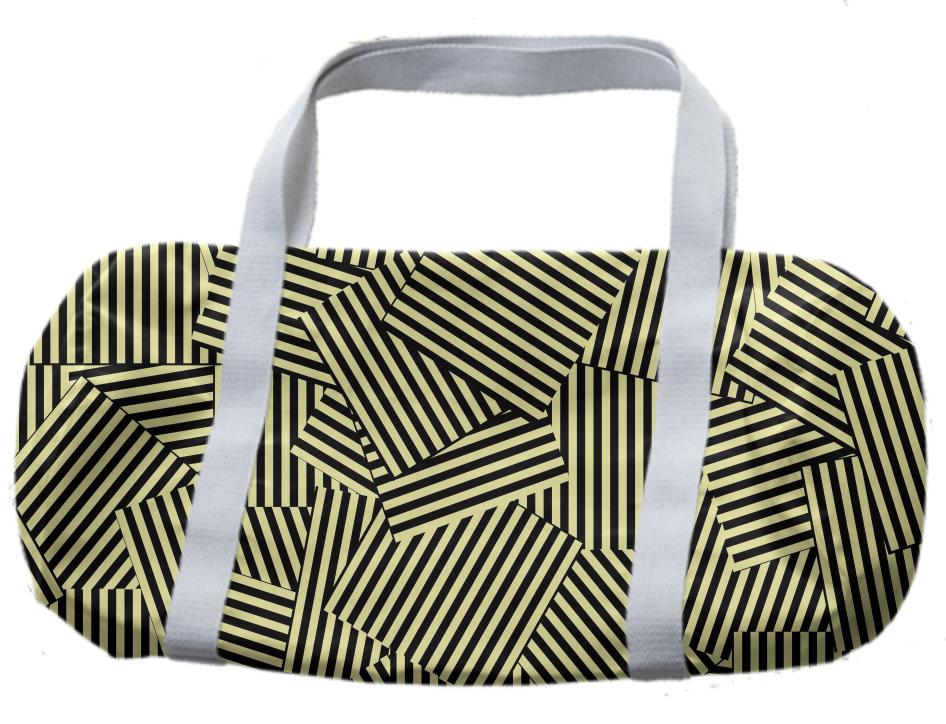 Trendy Cream Black Mix Abstract Stripe Patch Patterned Duffle Bag
