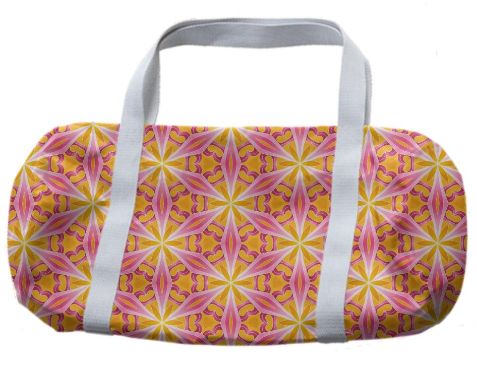 Yellow and Pink Star Geometric Duffle Bag