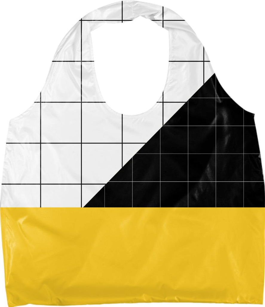 Black and White Grid with Yellow Stripe Eco Tote