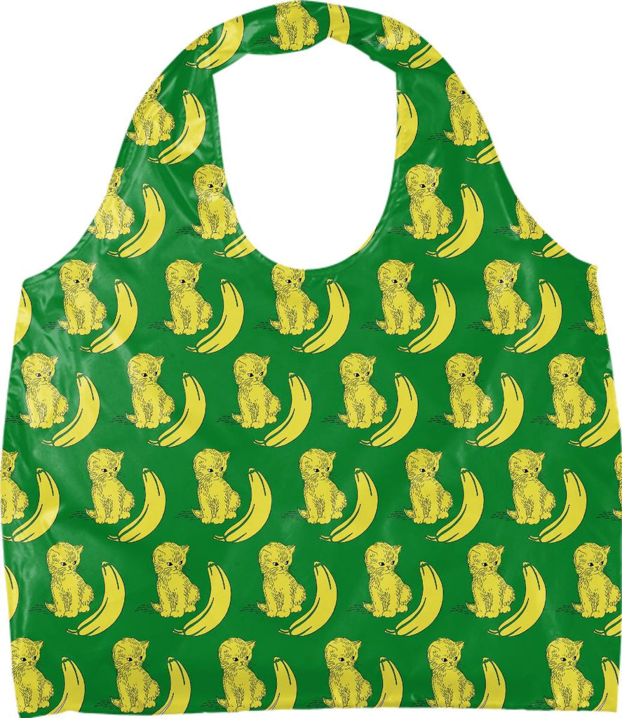 kitty kat banana bag green background