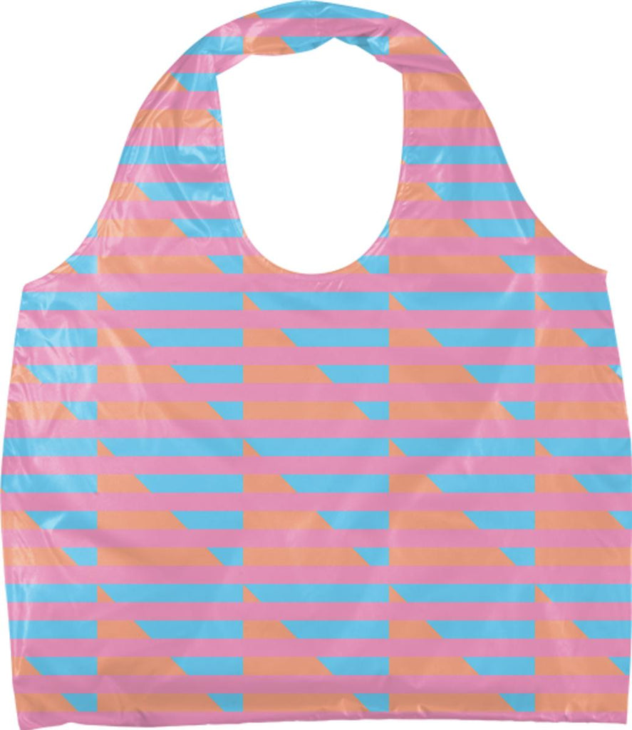 Peach Pink Blue Houndstooth Eco Tote