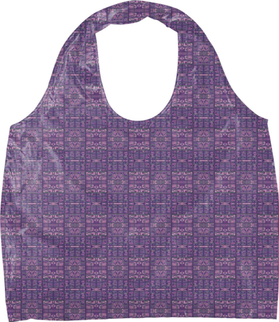Purple Pink Sage Crystalize Plaid Eco Tote