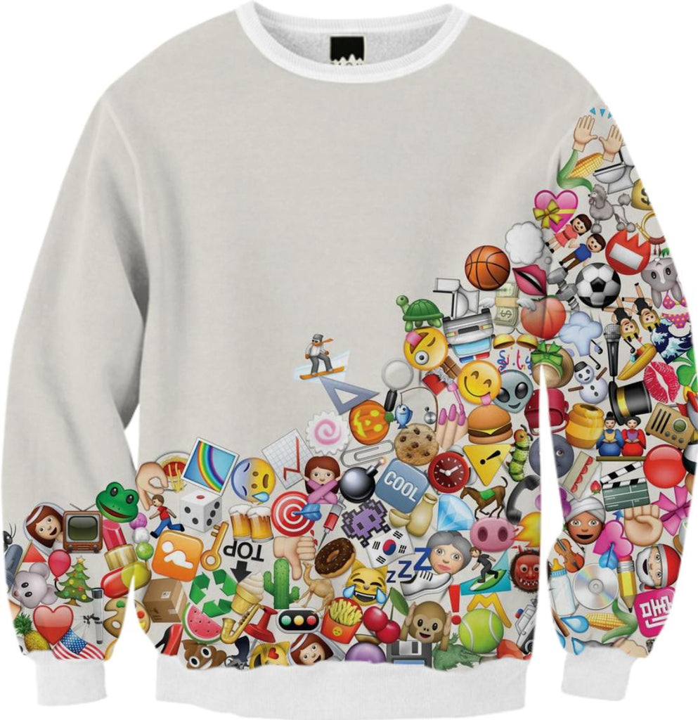 PAOM, Print All Over Me, digital print, design, fashion, style, collaboration, simseema, Ribbed Sweatshirt, Ribbed-Sweatshirt, RibbedSweatshirt, Emoji, autumn winter, unisex, Poly, Tops