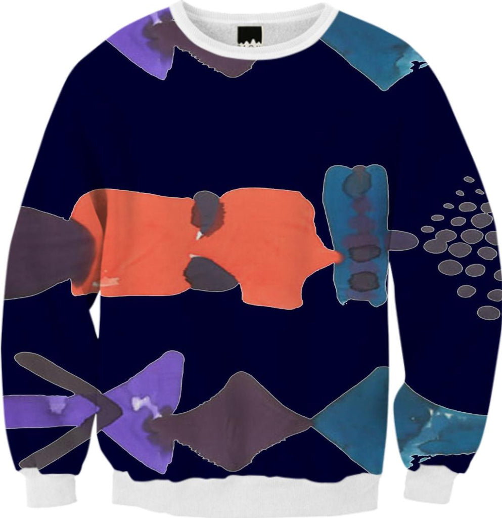 PAOM, Print All Over Me, digital print, design, fashion, style, collaboration, fort-makers, fort makers, Ribbed Sweatshirt, Ribbed-Sweatshirt, RibbedSweatshirt, Navy, Float, Fall, autumn winter, unisex, Poly, Tops