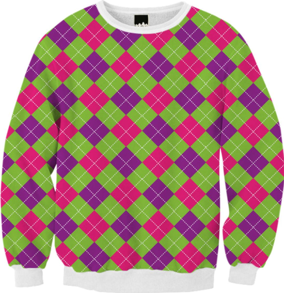PINK PURPLE GREEN ARGYLE PATTERN FALL SWEATSHIRT