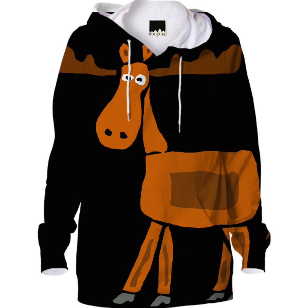 Fun Moose Primitive Art Hoodie