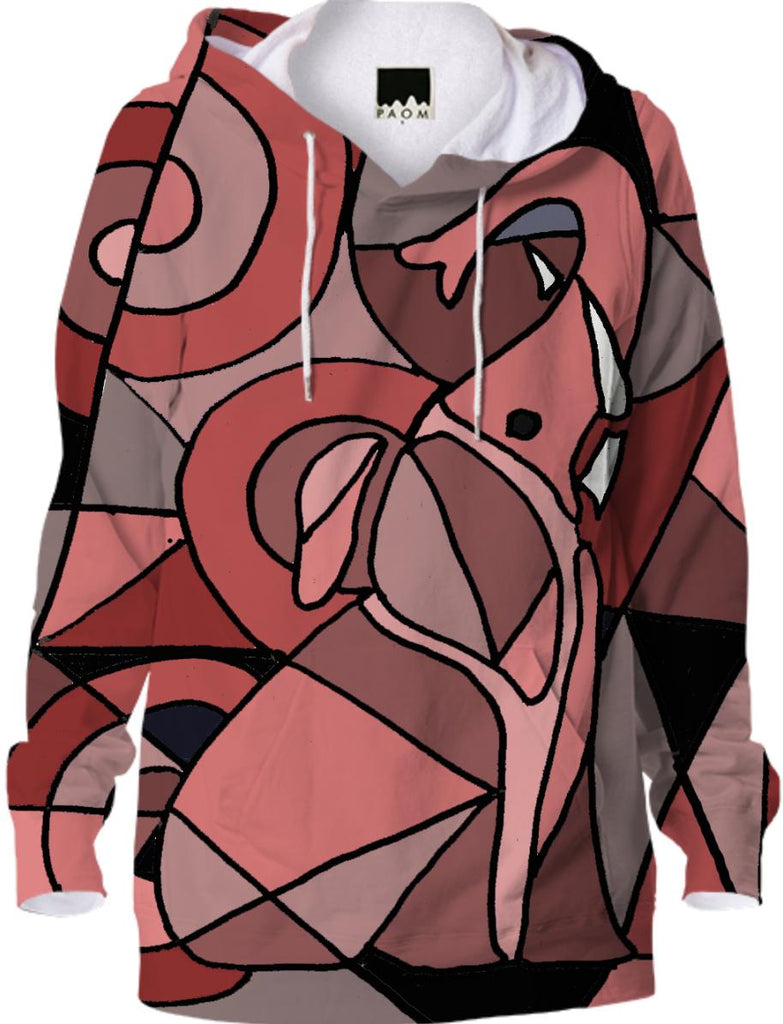 Fun Pink Elephant Abstract Hoodie
