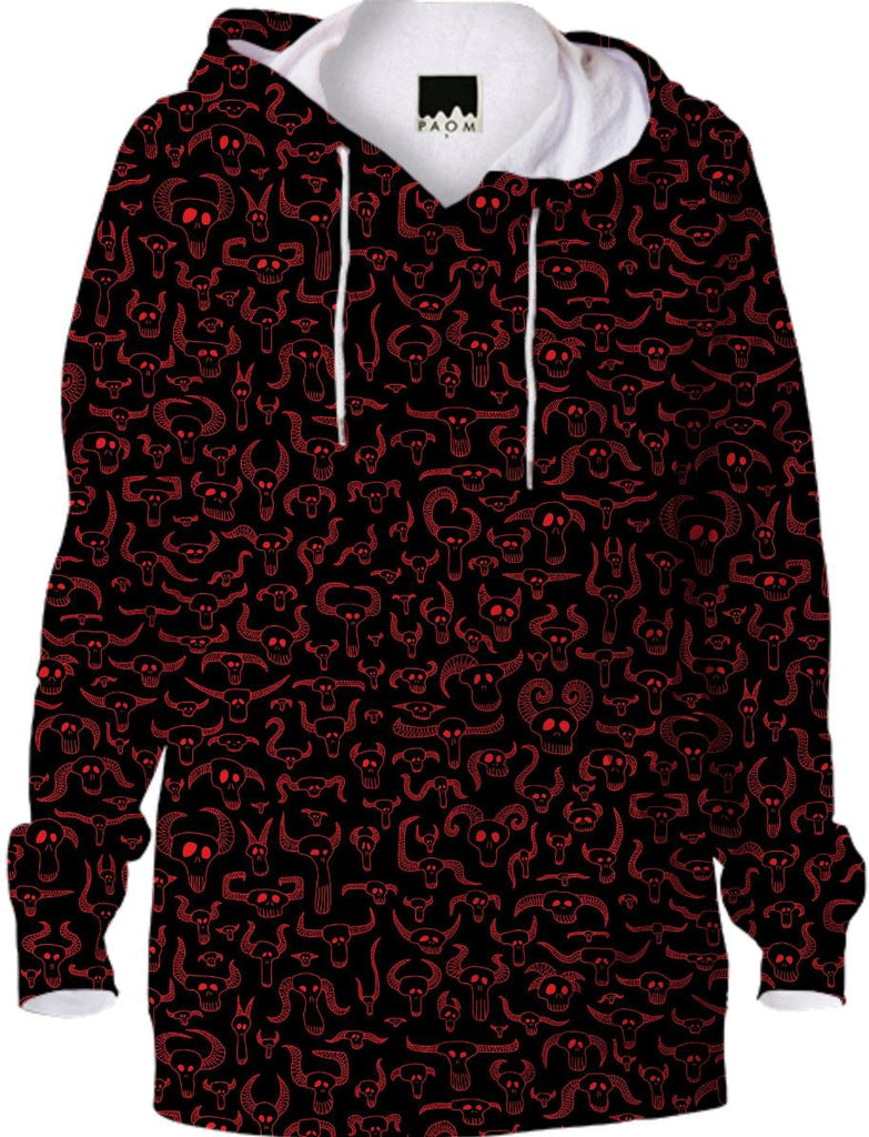 Skull Pattern Red on Black