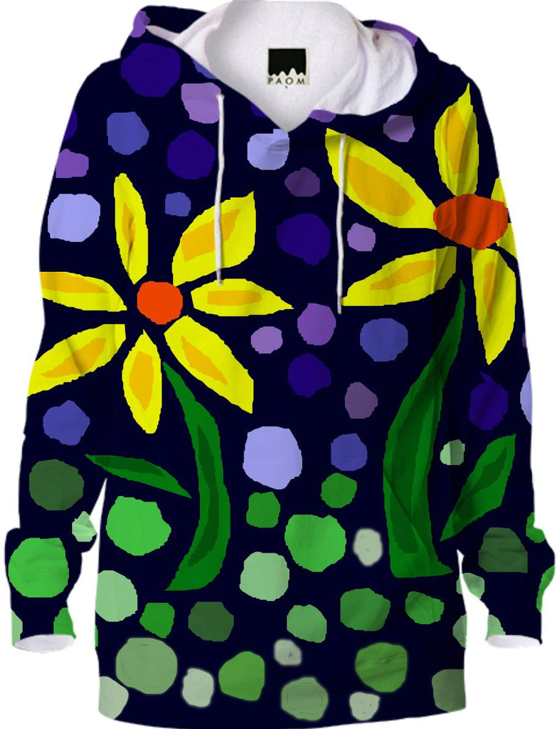 Yellow Daisy Floral Abstract Hoodie