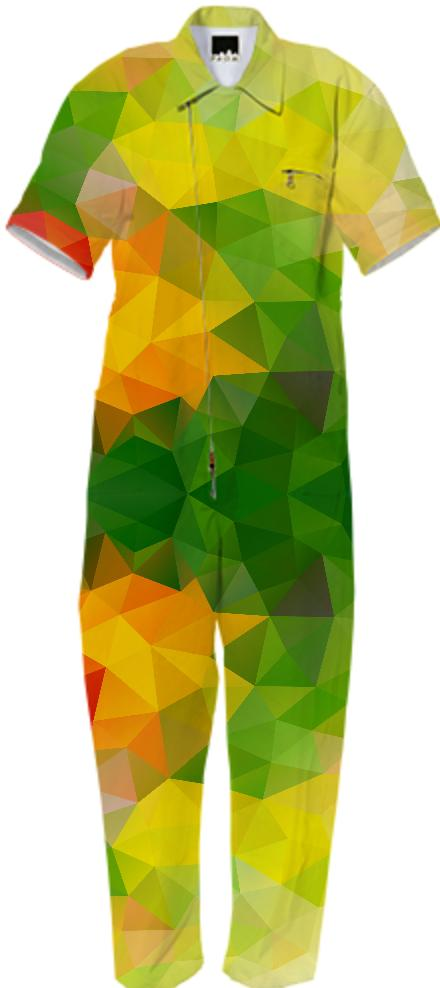 POLYGON TRIANGLES PATTERN GREEN YELLOW RED FRUITS ABSTRACT POLYART GEOMETRIC