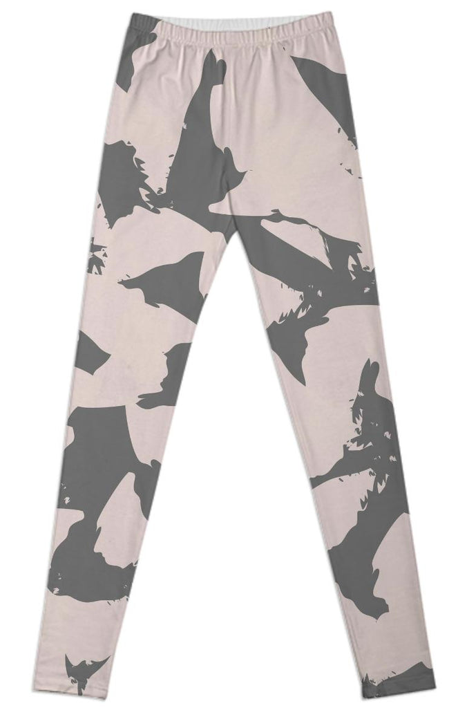 Pastel Pink Bird Wings on Gray Leggings