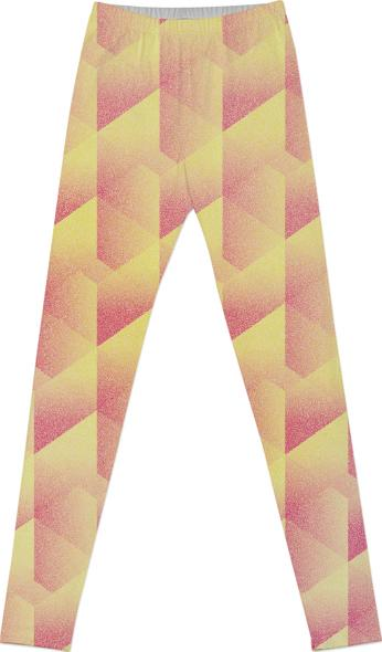 Geometric Pink Yellow LEGGINGS