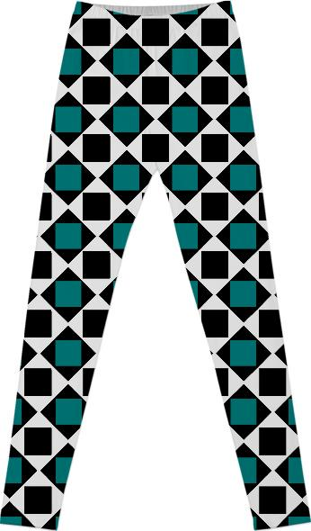Chic teal and black squares and diamonds