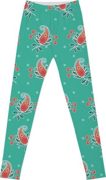 Gorgeous Aqua and Coral Paisley