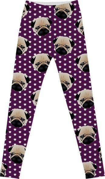 Pugs on Hearts Purple