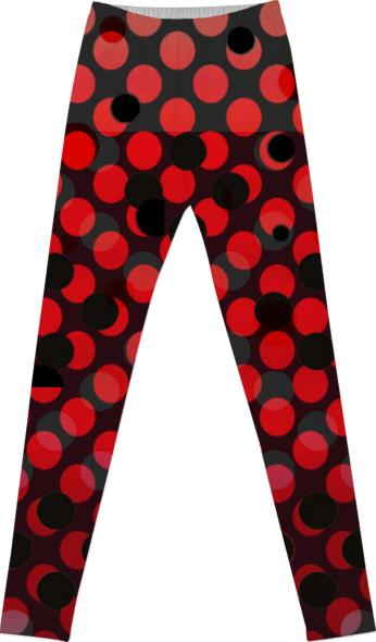 RED BLACK POLKA DOT LEGGINGS