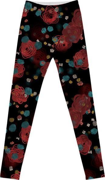 Sprouted Spirals Red and Blue Leggings