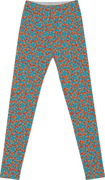 Teal Blue and Orange Stars and Boomerangs