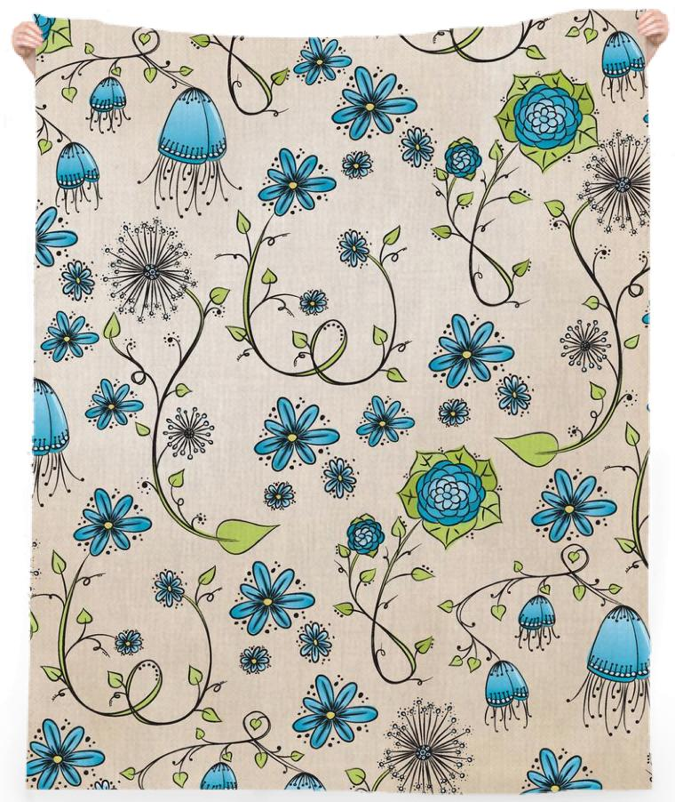 Blue on Beige Flower pattern