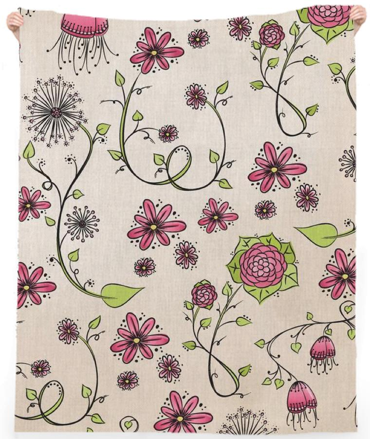 Pink on Beige Flower Pattern Towel