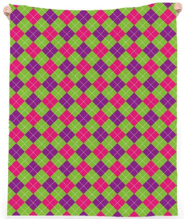 Pink Purple Green Small Argyle Pattern Linen Beach Towel