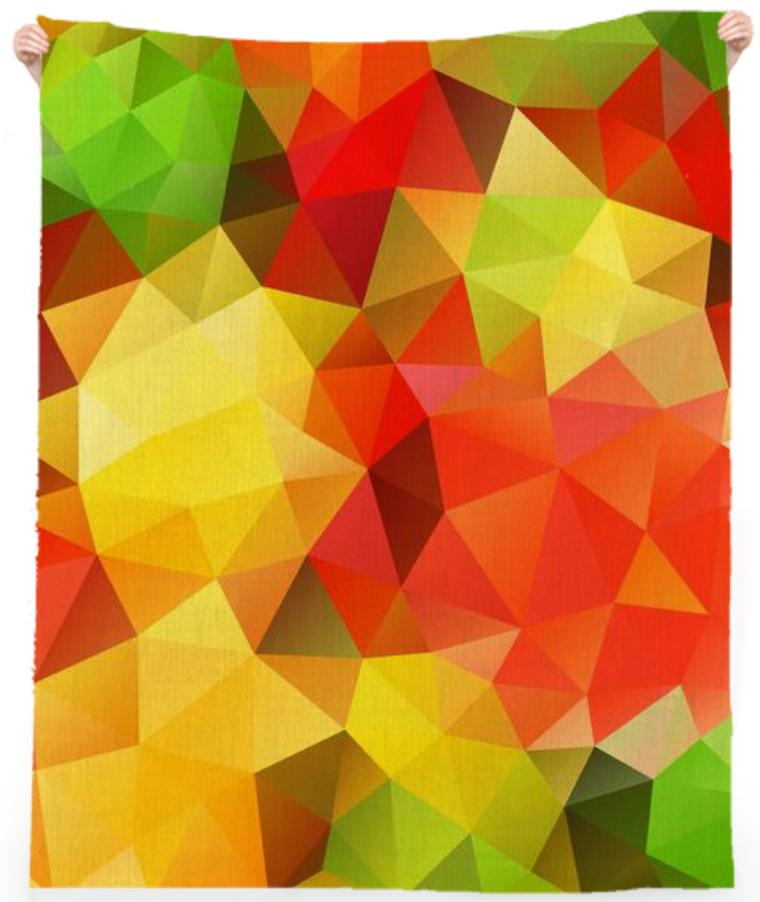 POLYGON TRIANGLES PATTERN YELLOW RED GREEN FRUITS ABSTRACT POLYART GEOMETRIC