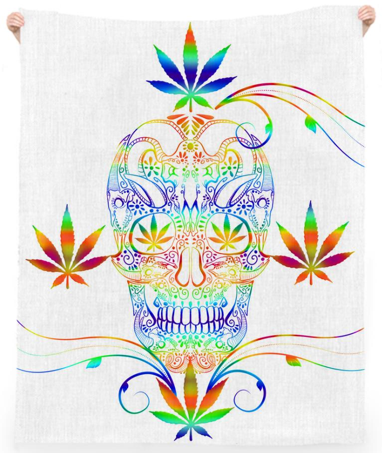 Skull Marijuana Leaves Beach Towel