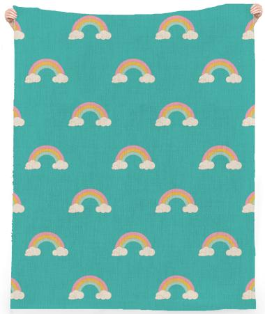 Teal Retro Rainbow Large Pattern Line Beach Towel