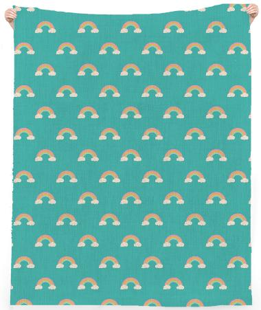 Teal Retro Rainbow Small Pattern Linen Beach Towel