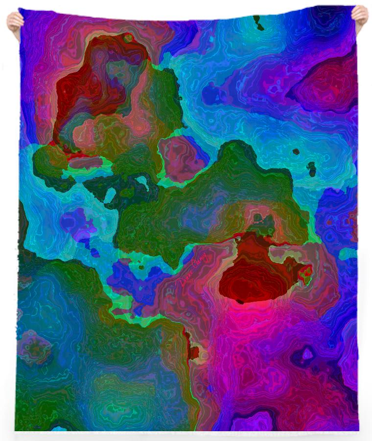 Teal Rose Dance of Paint Abstract Water Map