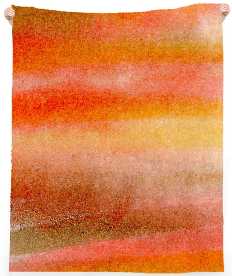 Warm Orange Gold and Brown Watercolor Stripes Beach Towel