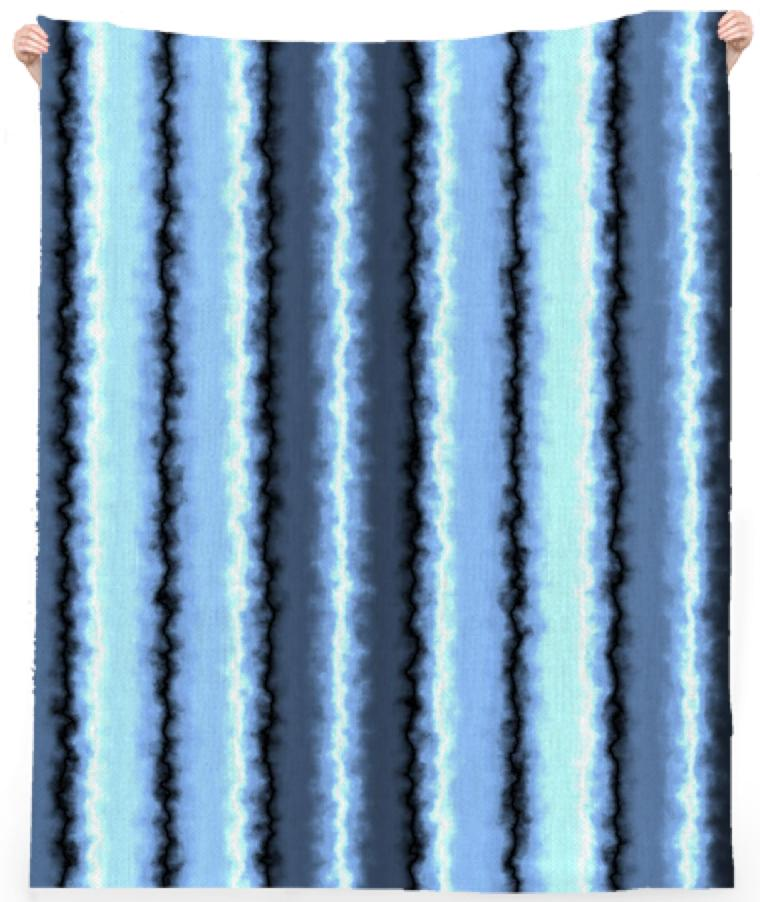 Watery Blue Stripes Beach Towel