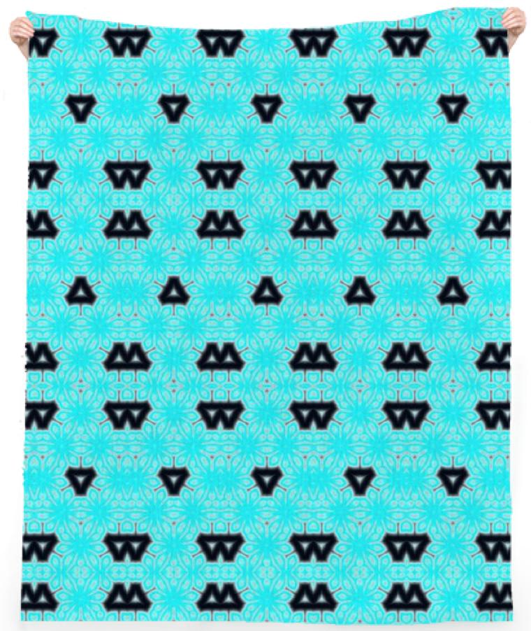 Whimsical Black and Aqua Tirangles Beach Towel