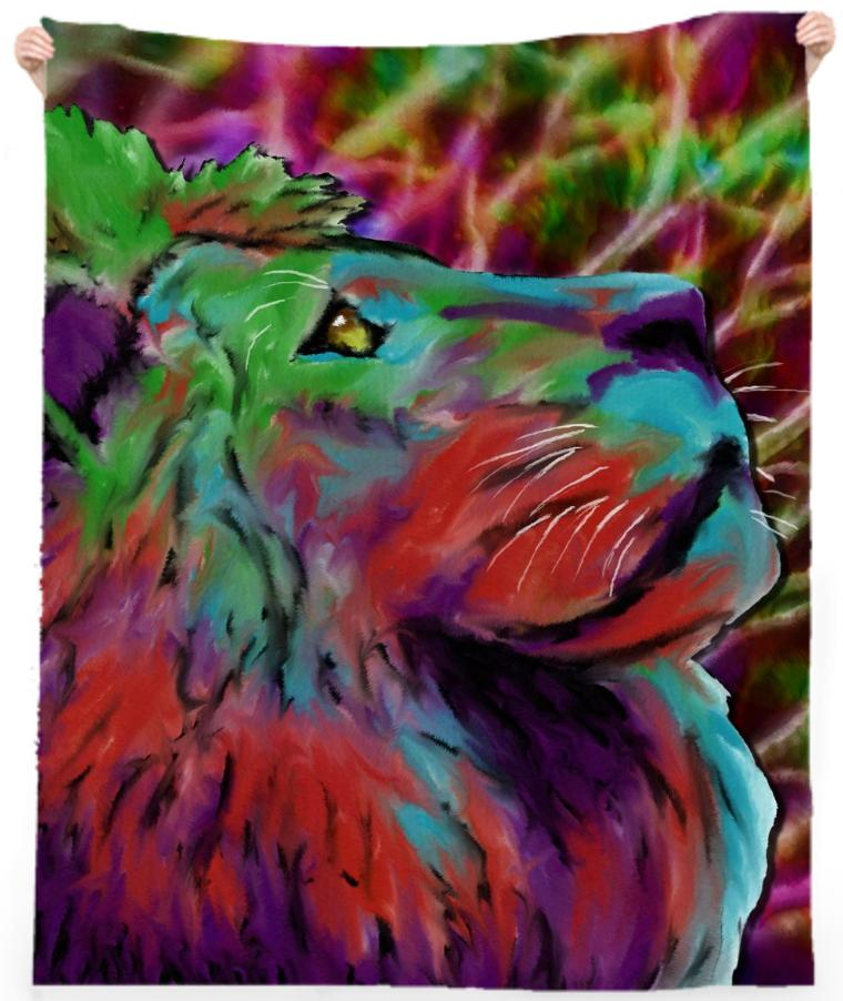 Colorful Lion Beach Towel