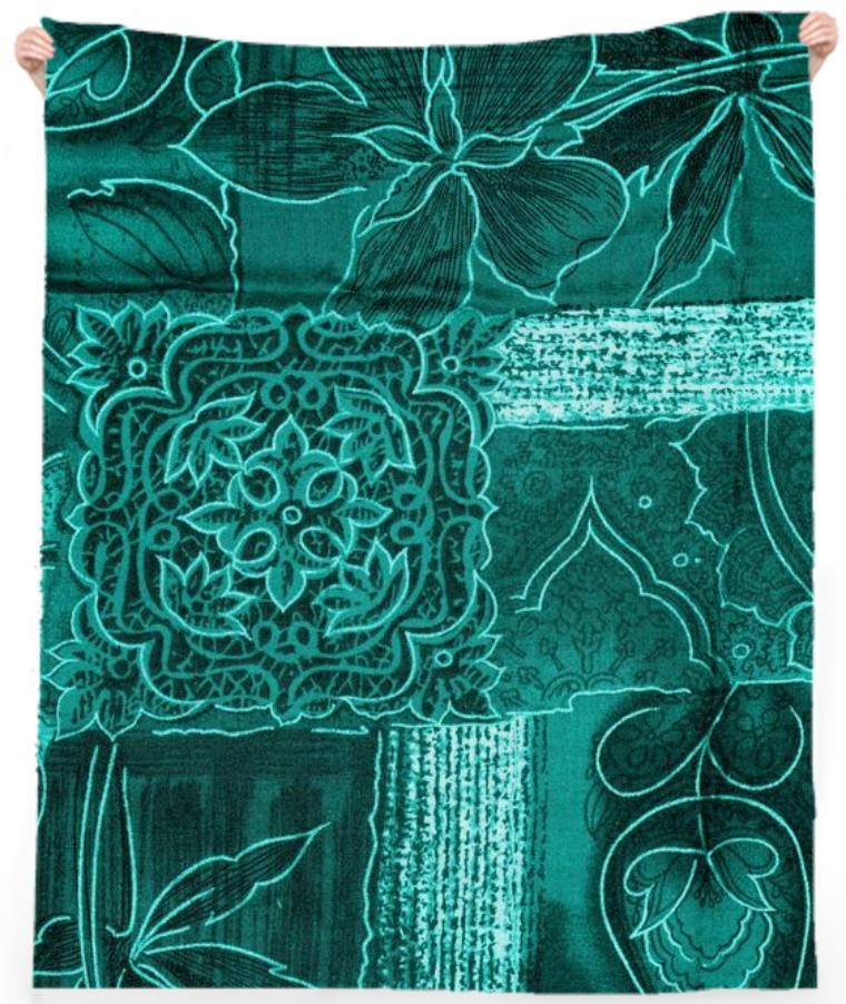 TURQUOISE PATCHWORK TOWEL