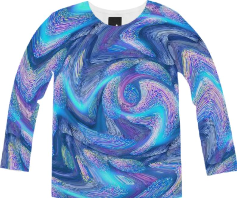 Electric Blue Zig Zags Abstract Fuzzy Sweater