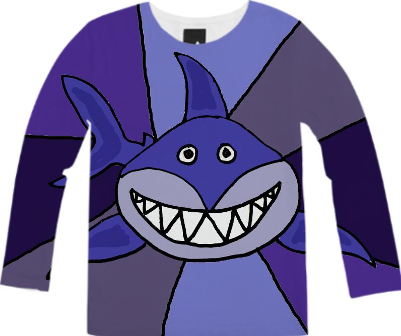 Funny Grinning Shark Abstract Shirt