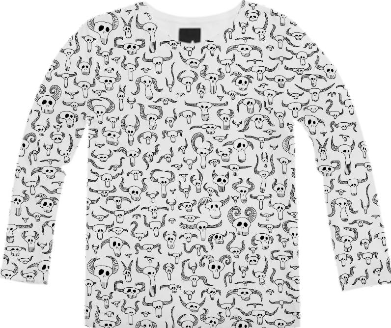 Skull Pattern Black on White